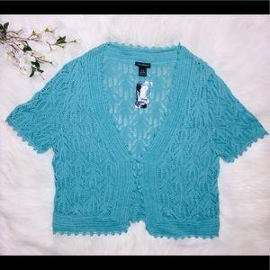 Lane Bryant 14/16 Crochet Aquamarine Cardigan